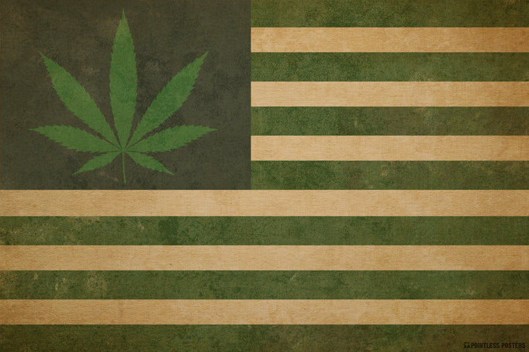 Marijuana Leaf USA Weed Flag