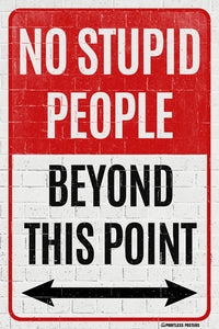 No Stupid People Beyond This Point Poster