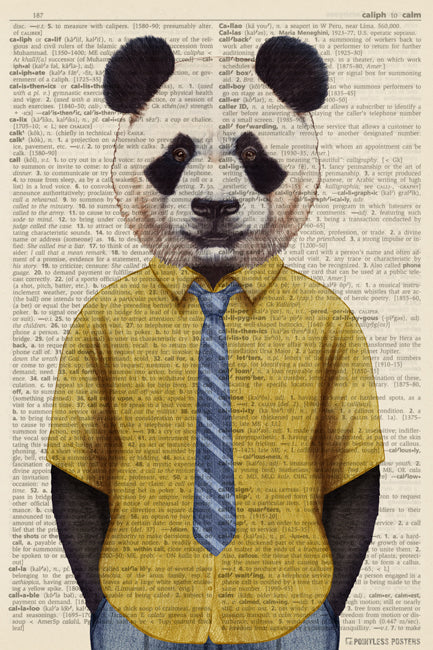 Panda In A Shirt And Tie Anthropomorphic Animal (dictionary background) Poster