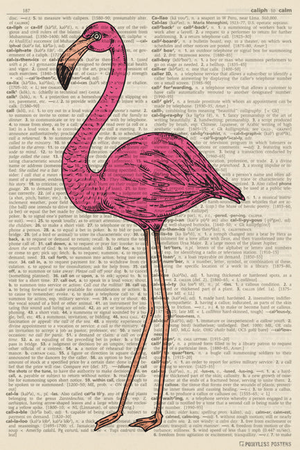 Pink Flamingo Illustration (dictionary background) Poster