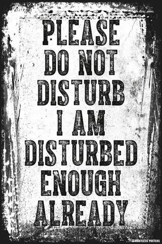 Please Do Not Disturb I Am Disturbed Enough Already Poster