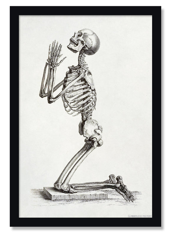 Praying Skeleton Gothic Poster