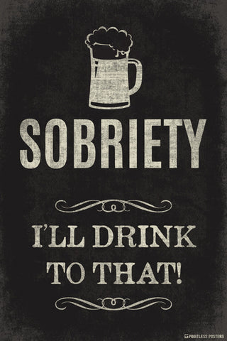 Sobriety...I'll Drink To That Poster