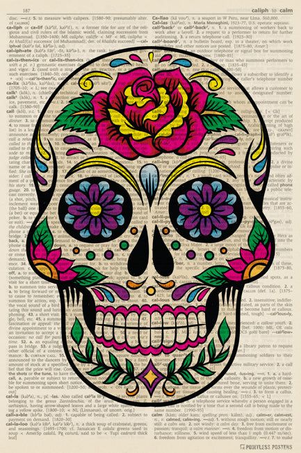 Sugar Skull (dictionary background) Poster