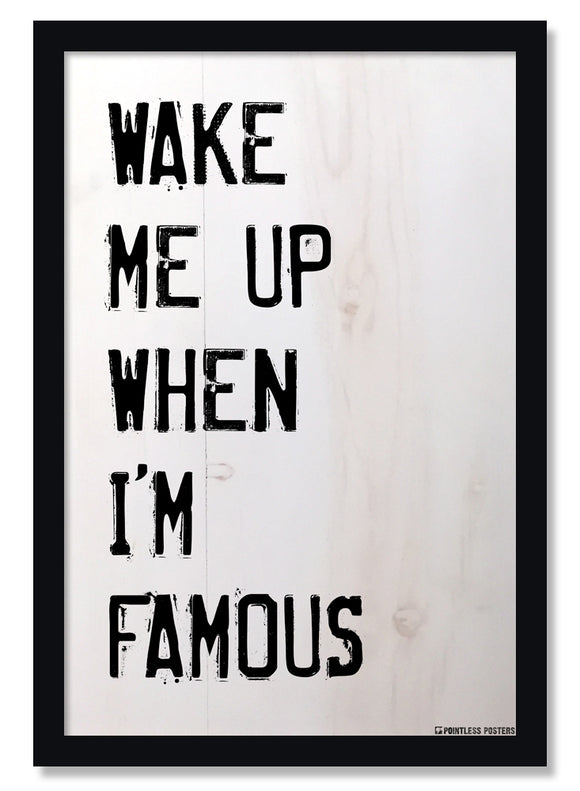 Wake Me Up When I'm Famous Funny Poster