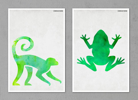 "Watercolor Animal Silhouette Posters - Set of Two 12""x18"" Posters"