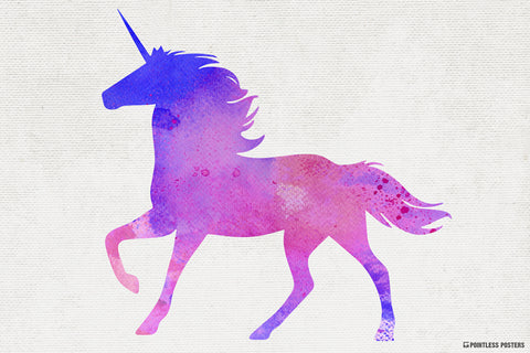 Watercolor Unicorn Poster