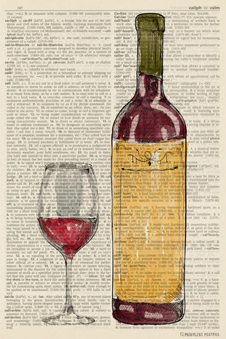 Wine Glass And Bottle Illustration (dictionary background) Poster