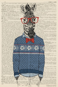 Zebra In A Winter Sweater Anthropomorphic Animal (dictionary background) Poster