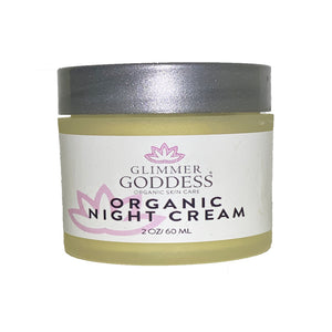 Organic Skin Renewal Anti Aging Night Cream - Hydrates, Firms and Lifts - Glimmer Goddess® Organic Skin Care