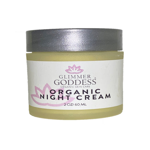 Image of Organic Skin Renewal Anti Aging Night Cream - Hydrates, Firms and Lifts - Glimmer Goddess® Organic Skin Care