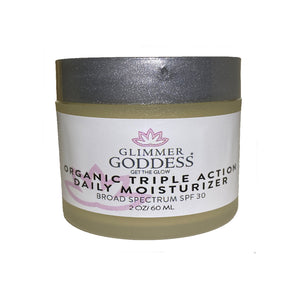 Organic Triple Action Anti Aging Daily Moisturizer with Shea Butter & Algae SPF 30 - Glimmer Goddess® Organic Skin Care