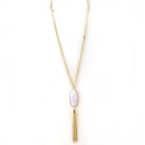 Opal Tassel Necklace