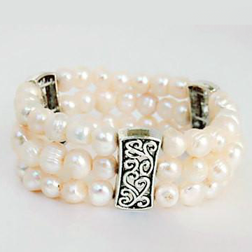 Three Strand White Pearl Bracelet - Free As A Bird Jewelry