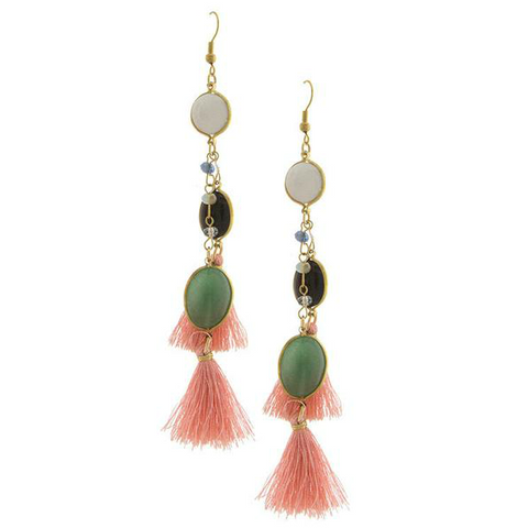 Tassel & Natural Stone Earrings - Free As A Bird Jewelry