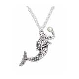 Mermaid Holding Pearl Necklace - Free As A Bird Jewelry
