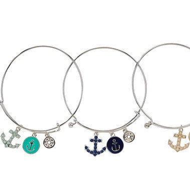 Anchor Medallion & Compass Nautical Charm Slide Bracelet