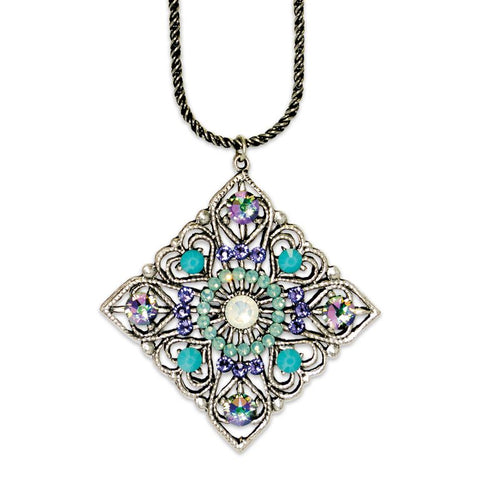 White Opal Art Deco Inspired Pendant