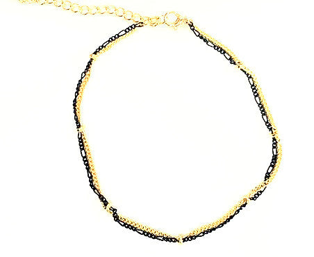 Black and Gold Anklet - Free As A Bird Jewelry