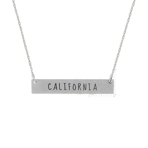 California Bar necklace. State necklace