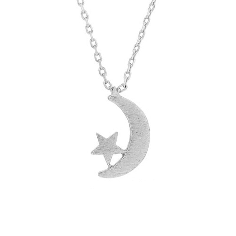 Silver Moon & Star Necklace - Free As A Bird Jewelry