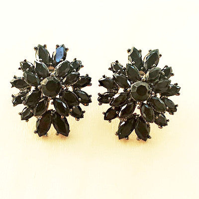 Black Flower Stud Earrings - Free As A Bird Jewelry
