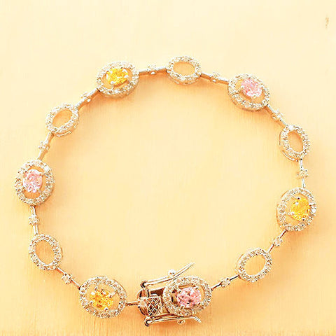 Pink & Canary Cubic Zirconia Bracelet - Free As A Bird Jewelry