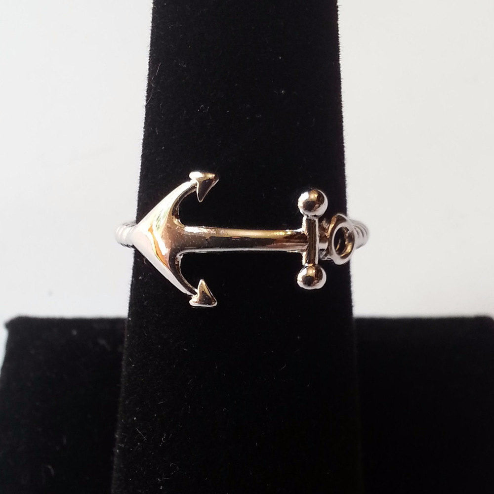 Silver Anchor Ring - Free As A Bird Jewelry