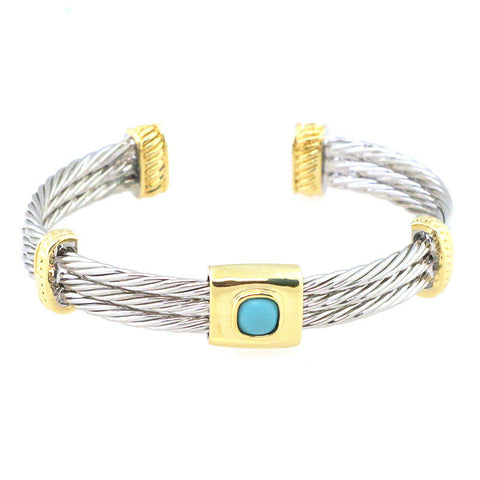 Turquoise Point Rope Cuff Bracelet - Free As A Bird Jewelry