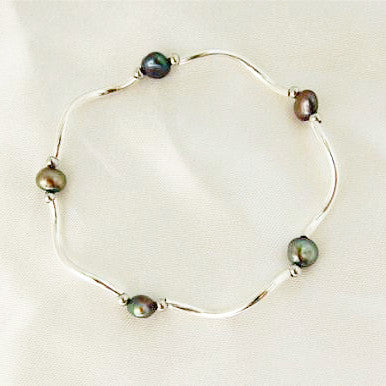 Silver Bar & Black Pearl Bracelet - Free As A Bird Jewelry