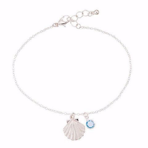 Scallop Shell and Crystal Anklet - Free As A Bird Jewelry