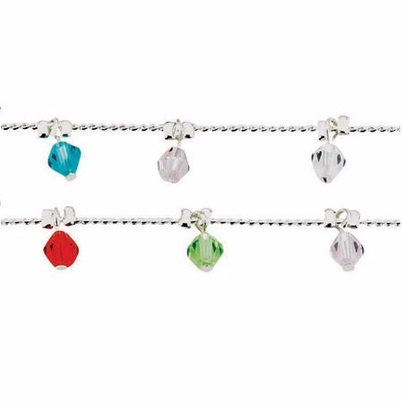 Silver Plated Facet Bead Anklet - Free As A Bird Jewelry