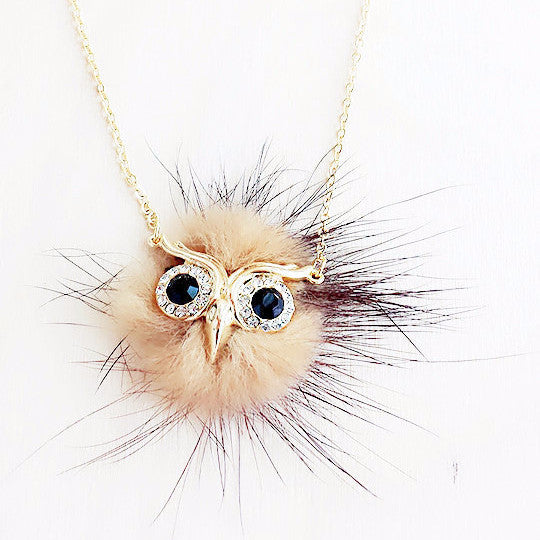 Furry Owl Necklace