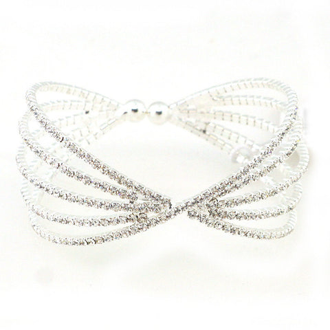 Rhinestone Bridal Cuff Bracelet - Free As A Bird Jewelry