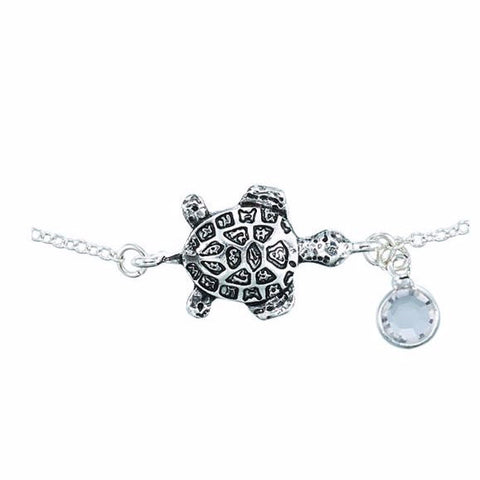 Sea Turtle With Crystal Anklet - Free As A Bird Jewelry