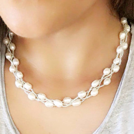 Three Strand Pearl Necklace - Free As A Bird Jewelry