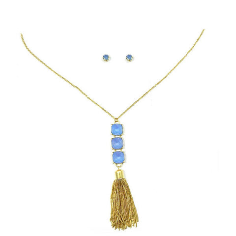 Blue Tassel Necklace - Free As A Bird Jewelry
