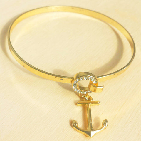 Gold Plated Anchor Charm Bracelet - Free As A Bird Jewelry