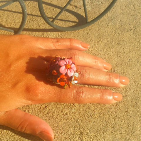 Adjustable Leather Flower Ring - Free As A Bird Jewelry