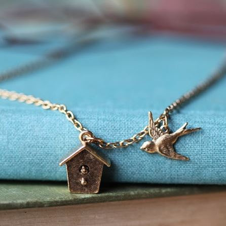 Birdhouse Charm Necklace - Free As A Bird Jewelry