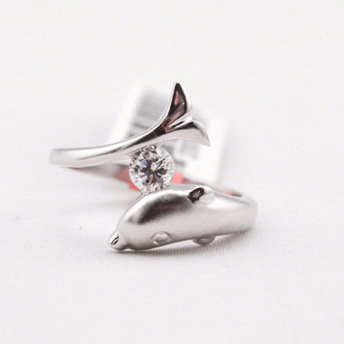 Dolphin Cubic Zirconia Ring - Free As A Bird Jewelry