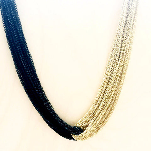 Black & Gold Statement Necklace - Free As A Bird Jewelry