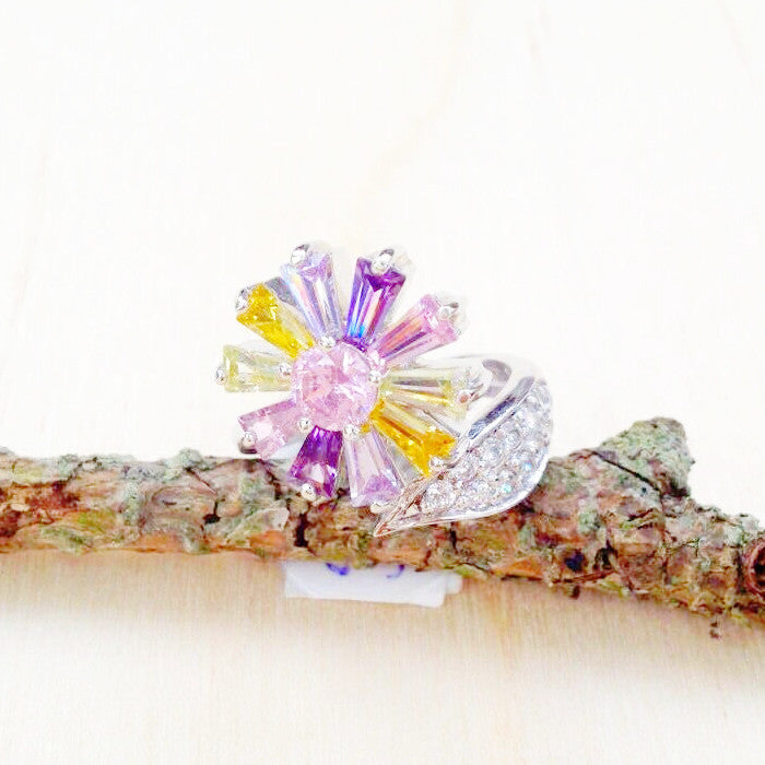 Multi-Color Cubic Zirconia Flower Ring