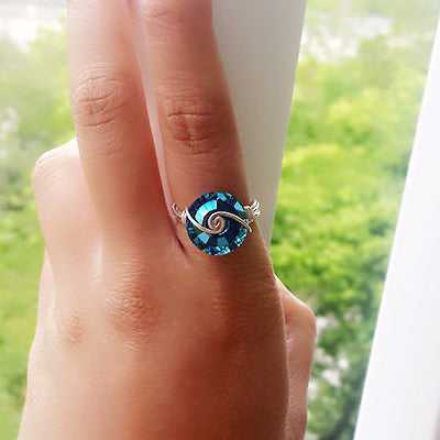 Swarovski Crystal Wire Wrapped Ring - Free As A Bird Jewelry