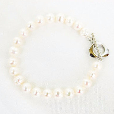 Freshwater Pearl Bracelet With Heart Clasp - Free As A Bird Jewelry