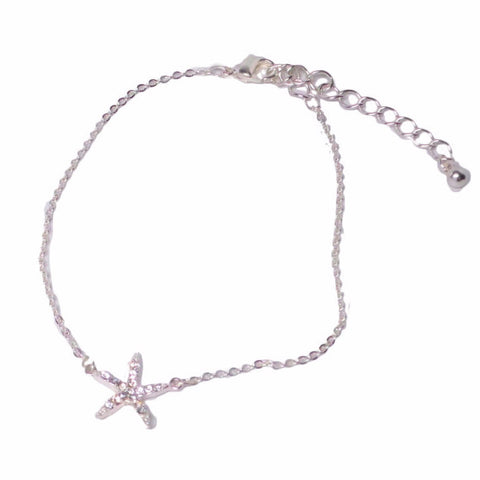Rhinestone Starfish Anklet - Free As A Bird Jewelry