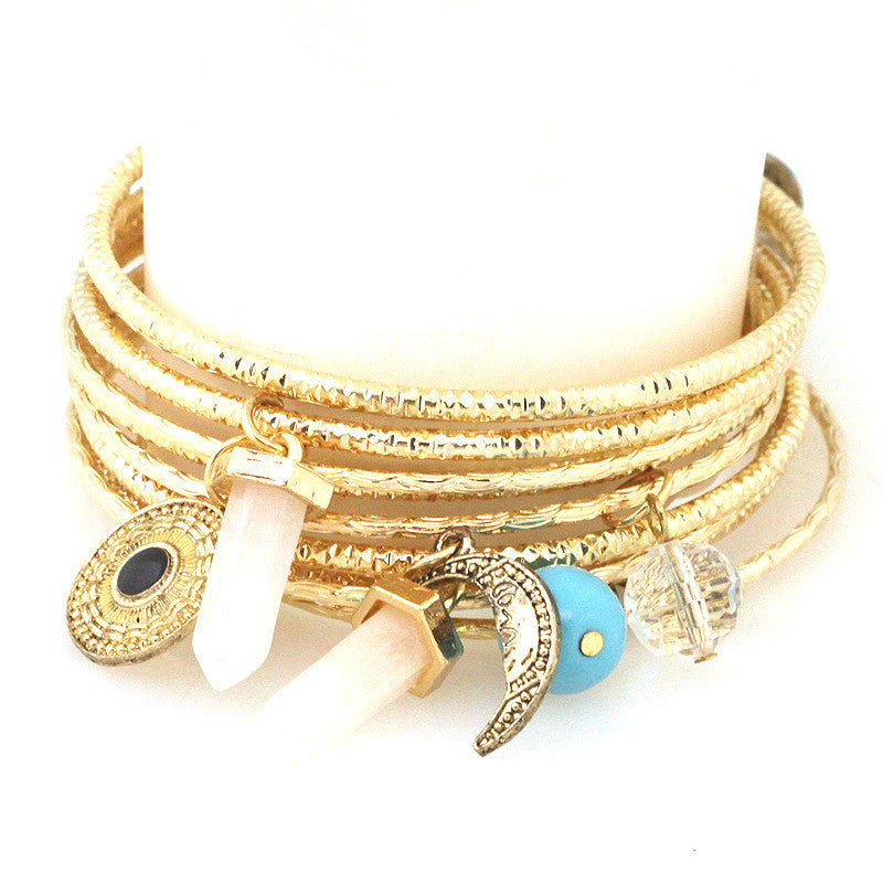 Quartz & Bohemian Charm Bangle Set - Free As A Bird Jewelry