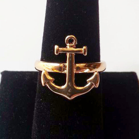 Gold Plated Anchor Ring - Free As A Bird Jewelry