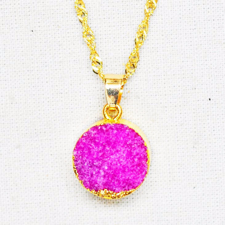 Pink Druzy Pendant Necklace - Free As A Bird Jewelry