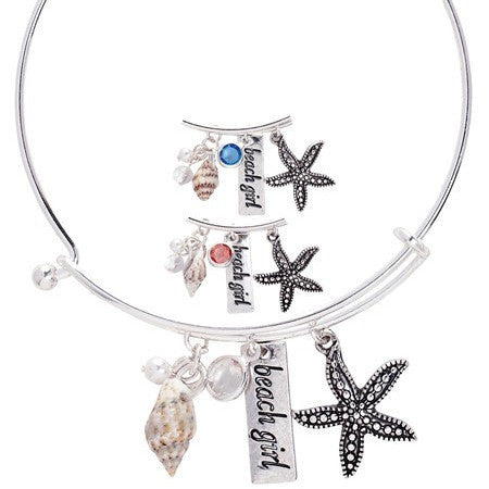 Starfish bangle bracelet - Free As A Bird Jewelry